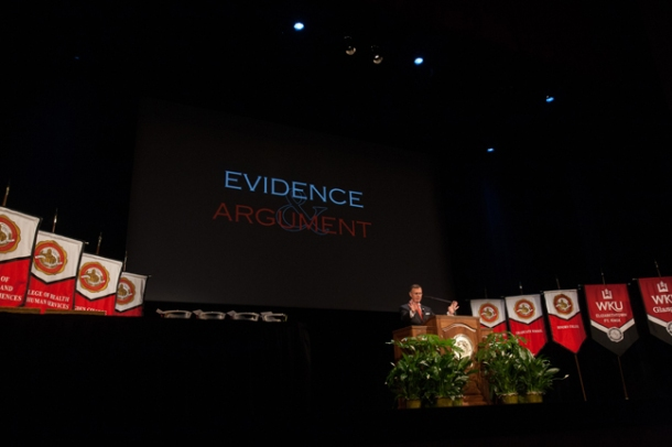 WKU President Gary Ransdell addressed faculty and staff at the 2014 Opening Convocation on Aug. 22 at Van Meter Hall. (WKU Photo by Clinton Lewis)