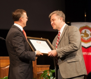 Dr. Bruce Kessler, head of WKU's Department of Mathematics, received the 13th annual Spirit of WKU Award. (WKU photos by Clinton Lewis)