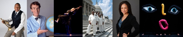The 2014-15 Cultural Enhancement Series will include (from left) Jazz at Lincoln Center Orchestra with Wynton Marsalis, Bill Nye, National Dance Company of Ecuador, The Northern Kentucky Brotherhood as part of Kentucky Glory: Gospel Music from the Commonwealth, Melissa Harris-Perry and Mummenschanz.