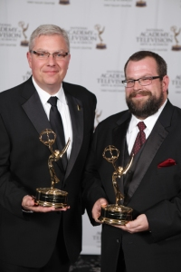 "David Brinkley (left) and Jordan Basham accepted the Regional Emmy Award for ""The Symphony: Chorale Finale."""