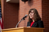 SGA President Nicki Seay spoke at the ceremony.