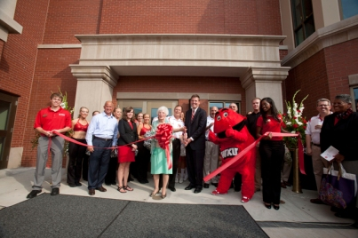 Members of the Downing family participated in the ribbon cutting of the Downing Student Union.