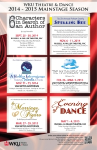 Tickets for the WKU Theatre & Dance 2014-2015 Mainstage season are available online at wku.showare.com or by calling the Fine Arts Box Office at (270) 745-3121.