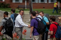 WKU President Gary Ransdell greeted students on the first day of classes Aug. 25.