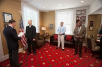 WKU President Gary Ransdell swore in new WKU Police officers Michael Cox and Chad Keen on Sept. 2.