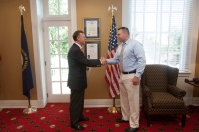 WKU President Gary Ransdell congratulated new WKU Police office Chad Keen after a swearing-in ceremony on Sept. 2.