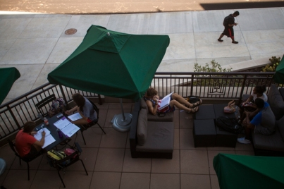 Students relaxed outside Downing Student Union on Sept. 4.