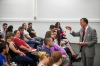 WKU President Gary Ransdell visited with students at Southcentral Kentucky Community and Technical College on Sept. 4.