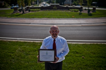 WKU received the Operation P.R.I.D.E. Chairman's Award on Sept. 16 for contributions to the Bowling Green roundabout project at U.S. 31-W/Nashville Road and University Boulevard. WKU Chief Facilities Officer Bryan Russell accepted the award.