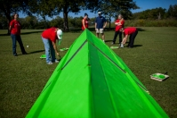 WKU Facilities Management staff members helped build obstacles Sept. 19 for the Light of Chance Hullabaloo Family Obstacle Course at Kereiakes Park.