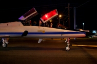 WKU President Gary Ransdell rode along as the NASA T-38 Talon was moved to Aviation Heritage Park on Sept. 21.