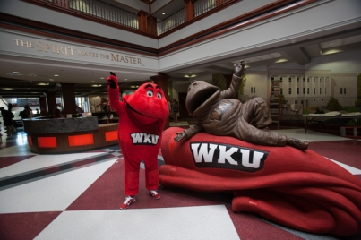 Big Red checked out a new statue inside Downing Student Union