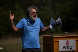 Dr. Albert Meier spoke during the Green River Preserve anniversary celebration on Sept. 27.