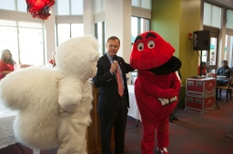 WKU President Gary Ransdell with Big Red and Wally the White Squirrel at Fall Break Brunch.