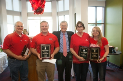WKU President Gary Ransdell (center) with 2014 Staff Excellence Award recipients (from left) Bob Skipper, Jeremy Waddell, Barbara Holder and Wendy DeCroix.