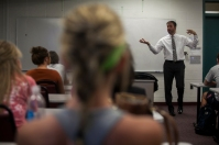 Financial planner David Bolton spoke to students in an economics class on Oct. 8.