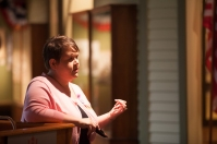Elizabeth Madariaga spoke during the Domestic Violence Awareness Month event Oct. 14 at the Kentucky Building.