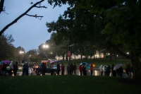 A line formed near Diddle Arena on Oct. 15 for the WKU Cultural Enhancement Series presentation by Bill Nye.