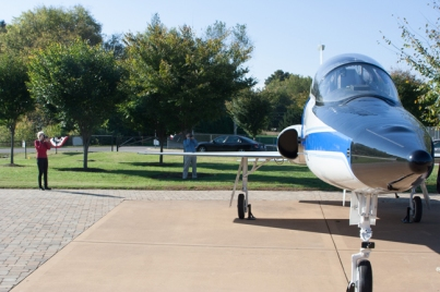 A NASA T-38 Talon, honoring WKU graduate Terry Wilcutt and the late Dave Finney, was dedicated Oct. 18 at Aviation Heritage Park.