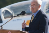 Terry Wilcutt spoke at the dedication ceremony Oct. 18 at Aviation Heritage Park.