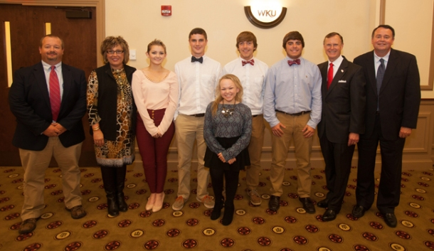 WKU honored five students from Allen County-Scottsville High School on Oct. 14. From left: principal Shane Davis, counselor Paige Tabor, Tori Edwardson, Quinn Towery, Sydney Blankenship, William Slaten, Sam Calvert, WKU President Gary Ransdell and superintendent Randall Jackson. (WKU photo by Clinton Lewis)
