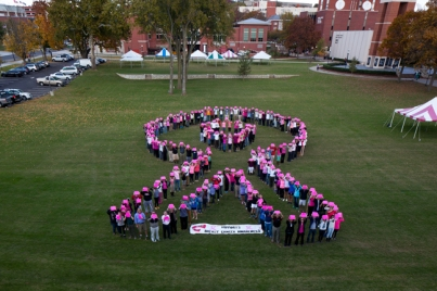 On Oct. 29, 181 WKU faculty, staff and students joined together to make a human breast cancer ribbon in support of Breast Cancer Awareness.