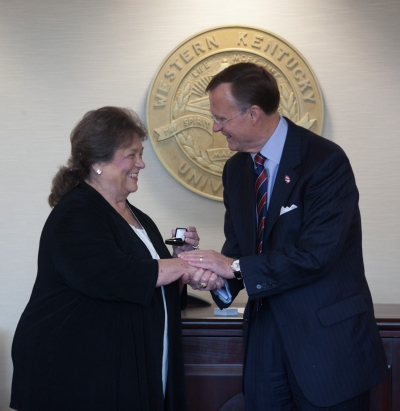 WKU President Gary Ransdell congratulated new faculty regent Barbara Burch on Oct. 31.