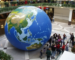 The GeoSphere, a 20-foot inflatable globe, will provide a unique learning environment during WKU's International Education Week at Niteclass in the Downing Student Union. Up to 30 students can fit inside for each lesson. The GeoSphere shows natural vegetation, mountains, water bodies, latitude and longitude, tectonic boundaries and city symbols. Led by geographer Steve Jansen, 15 to 20 minute lessons will be offered on a variety of topics (appropriate to age levels) from 9 a.m. to 4 p.m. Nov. 17-19 and 9 a.m. to noon Nov. 20. Several school groups and campus organizations have booked times in the GeoSphere. If you would like to book a group or class time, contact Dr. Kay Gandy at kay.gandy@wku.edu. The GeoSphere is sponsored by the College of Education and Behavioral Sciences, Office of International Programs, Campus Activities Board, Kentucky Geographic Alliance and National Geographic Society.