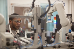 WKU senior Justin Edwards-Page works in the Advanced Manufacturing lab on Dec. 5. He will graduate on Dec. 13.