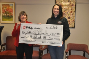 """WKU Libraries Dean Connie Foster (left) presented the inaugural WKU Library Student Assistant Scholarship to Katherine """"Katie"""" DeCoursey."""