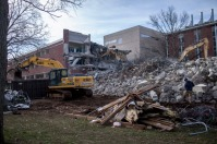 Work to raze Thompson Complex North Wing was under way in January.