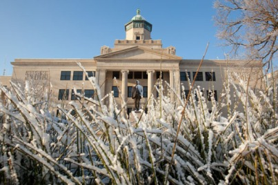 Snow on the main campus on Jan. 24.