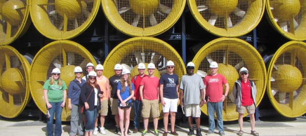 WKU students visited the International Hurricane Research Center and the Wall of Wind in Miami during Winter Term 2015. The Wall of Wind can produce Category 5 winds to allow structural studies.