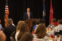 Dr. Jace Lux, director of Recruitment and Admissions, spoke at a luncheon Feb. 6 for Cherry Presidential Scholarship finalists.