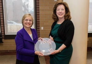 Julia Link Roberts, (left) executive director of The Center for Gifted Studies and the Carol Martin Gatton Academy of Mathematics and Science in Kentucky, poses with Norma Lu Hafenstein, Director of the Institute for the Development of Gifted Education at the University of Denver, after receiving the Palmarium Award from the organization Feb. 6. (Photo by the Institute for the Development of Gifted Education)