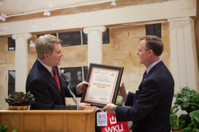 Agriculture Commissioner James Comer (left) presented President Gary Ransdell with a certificate as WKU became the 10th member of the Kentucky Department of Agriculture's Farm to Campus Program.