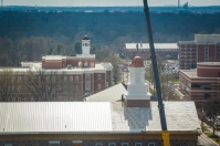 Workers placed the cupola on the WKU Honors College/International Center on March 25.