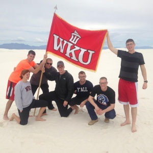 WKU Army ROTC cadets participated in the 2015 Bataan Memorial Death March in New Mexico. From left: Kelsey McArthur, Michael Cunningham, SFC Andrew Black, Austin Drexler, Roland Haun, Jacob Marsh and Michael Sawyer.