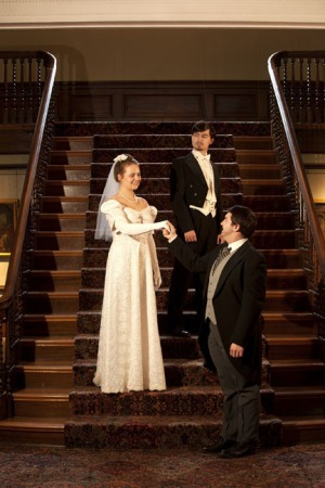 Cast members in WKU's production of The Marriage of Figaro include (from left) Abigail White as Susanna; Taylor Dant as Count Almaviva; and Dylan Wright as Figaro. (WKU photo by Clinton Lewis; styling by Lindsey Eastman, WKU Costume)