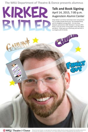 TV writer/producer Kirker Butler, a 1993 WKU graduate, will return to campus on April 14 for presentation and book signing.