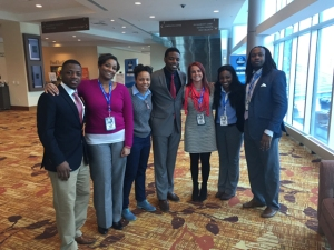 Faculty and students from WKU's School of Kinesiology, Recreation & Sport recently attended the NFL Combine Sports Career Workshop in Indianapolis. From left: Andre Farrell, Lauren McCoy, Dr. Evie Oregon, Desmond Davidson, Rachel McDivitt, Sherrice Dubose and Josh Jones.