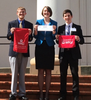 WKU students (from left) Tyberius Knipp, Alexandria Knipp and Christopher McKenna attended the Model Arab League conference.