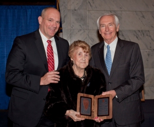 Gov. Steve Beshear (right) and Dr. Tommy Floyd, chief of staff for the Kentucky Department of Education, presented Mary K. Armstrong with her Kentucky Teacher Hall of Fame award on March 3. (WKU photo by Bryan Lemon)
