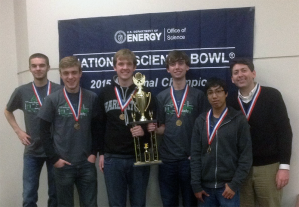 A team from The Gatton Academy won the Department of Energy's West Kentucky Regional Science Bowl. From left: Brian Carlson, Paul Hudson, Ben Riley, Ben Guthrie, Rohan Deshpande and coach Derick Strode.