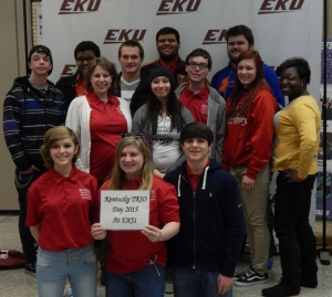 Students from two WKU TRIO programs participated in 2015 TRIO Day state competition Feb. 28 at Eastern Kentucky University. Front row (from left): Raven Robinson, Lizzey Cain, Paul Spencer; middle row: Rebecca Smith, Ciara Bolden, Thomas Porter, Allison Howard, Bionca Washington; back row: James Biggs, Isiaha Price, Barry Washer, Deven Richardson, Caleb Renfrow