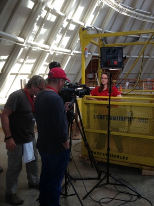 "Dr. Leslie North being interviewed for the ""Secrets of the Earth"" documentary at the National Corvette Museum sinkhole."