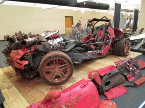 A crushed Corvette that was retrieved from the sinkhole at the National Corvette Museum.