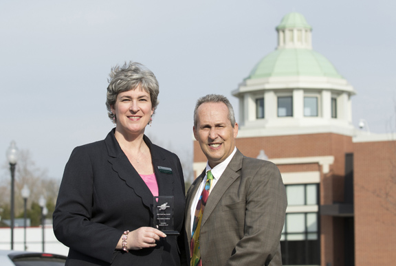 Gatton Academy Director Lynette Breedlove poses with Rene Trué of ConnectKentucky after accepting the Secondary Educational Institution Technology Award presented by ConnectKentucky at Tech Day in Kentucky 2015 held March 24 at the Knicely Conference Center. (Photo by Sam Oldenburg)