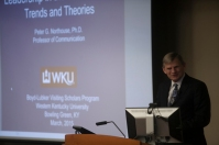 """Dr. Peter G. Northouse, Professor Emeritus at Western Michigan University's School of Communication, presented """"Leadership in the 21st Century: Trends and Theories"""" during the 2015 Boyd-Lubker Visiting Scholars Program on March 31."""