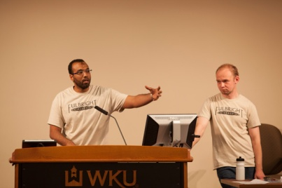 Fulbright Foreign Language Teaching Assistants in WKU's Department of Modern Languages, Ahmed Awadallah (Arabic) and Nikita Prokhorov (Russian), discussed their experiences teaching in the United States this year during an April 7 lecture.